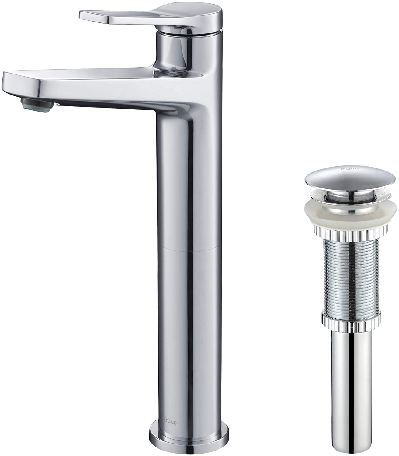 Kraus KVF-1400CH-PU-10CH Indy Single Handle Vessel Bathroom Faucet and Pop Up Drain, Chrome