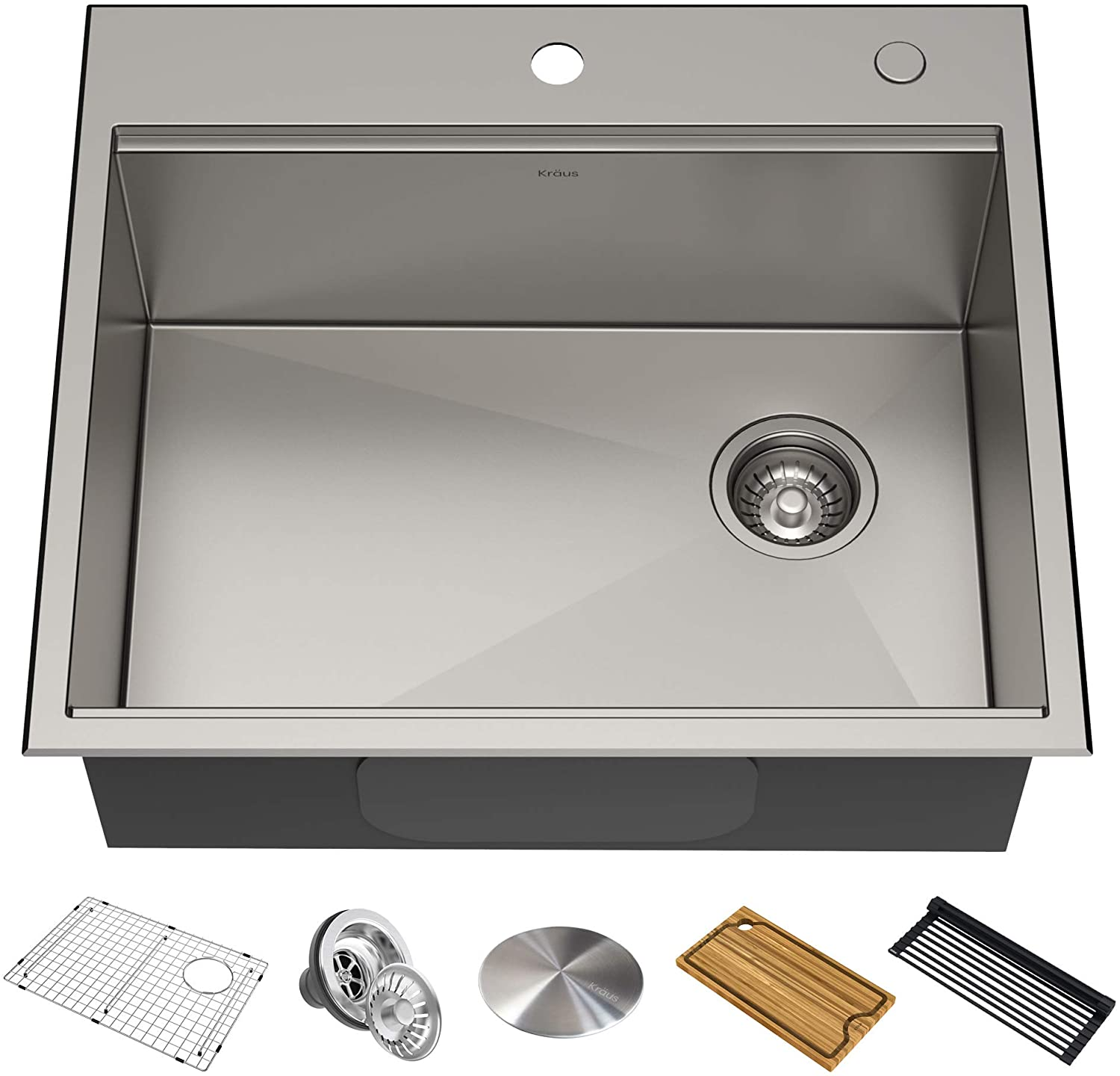 KRAUS KWT311-25 Kore Workstation 25-inch Drop-In or Undermount 16 Gauge Single Bowl Stainless Steel Kitchen Sink with Integrated Ledge and Accessories (Pack of 5)