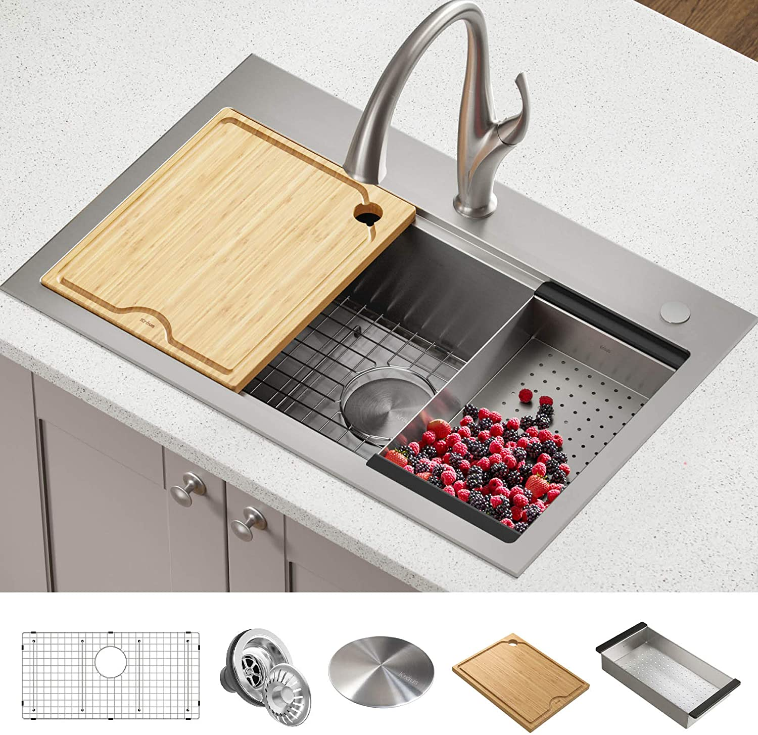 Kraus KWT300-32 Kore Workstation 32-inch Drop-In or Undermount Single Bowl Kitchen Sink with Accessories (Pack of 5), 32 Inch, Stainless Steel