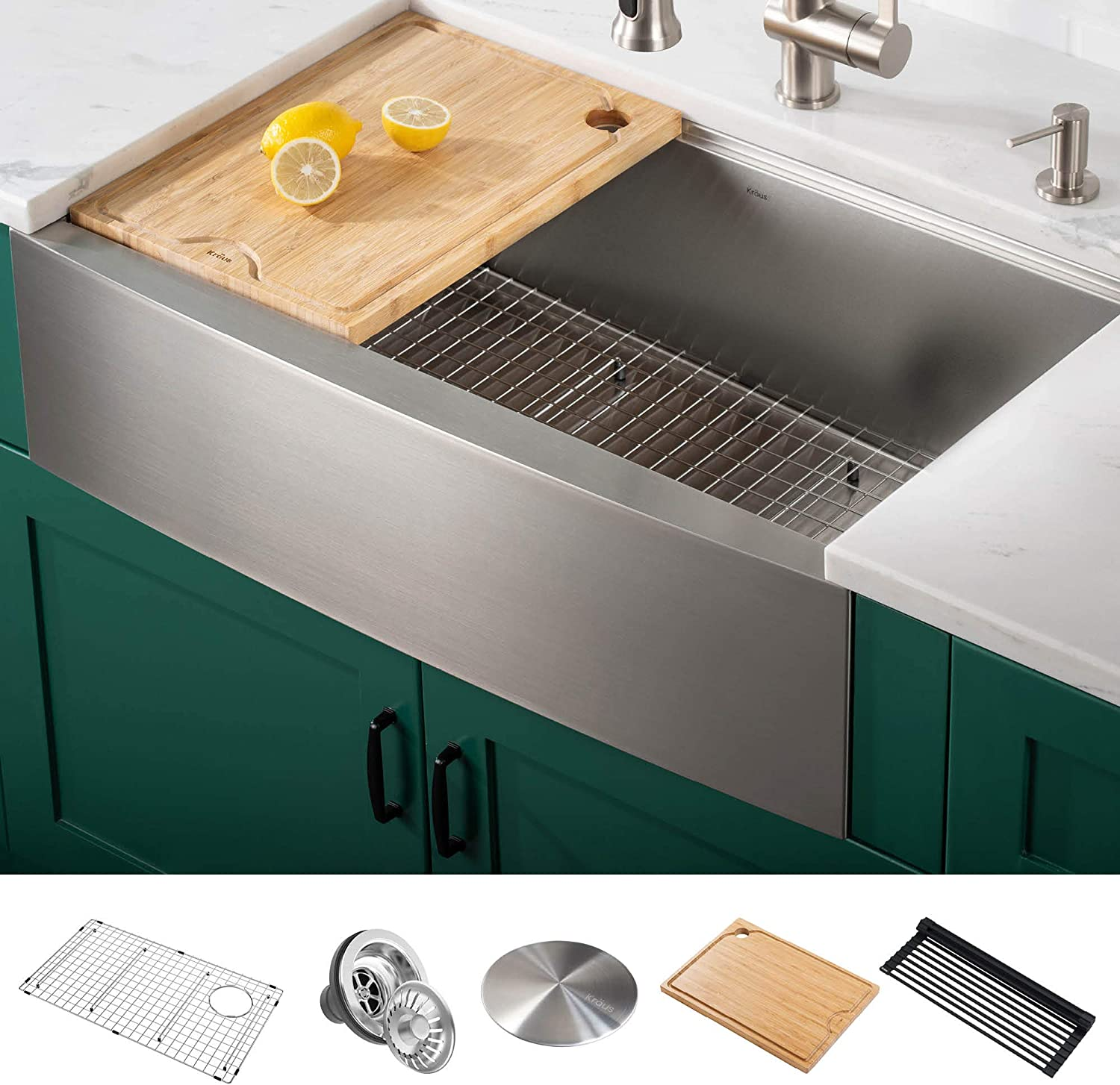 Kraus KWF210-36 Kore Workstation 16 Gauge Farmhouse Single Bowl Stainless Steel Kitchen Sink with Integrated Ledge and Accessories (Pack of 5), 36 Inch Rounded Apron Front