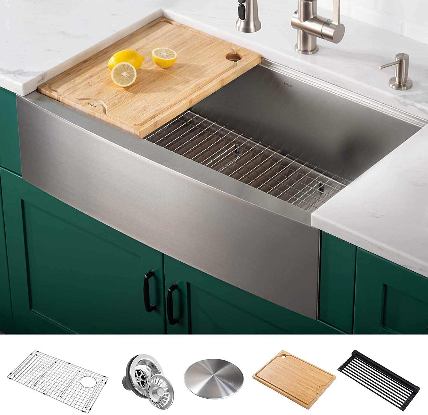 Kraus KWF210-30 Kore Workstation 16 Gauge Farmhouse Single Bowl Stainless Steel Kitchen Sink with Integrated Ledge and Accessories (Pack of 5), 30 Inch Rounded Apron Front