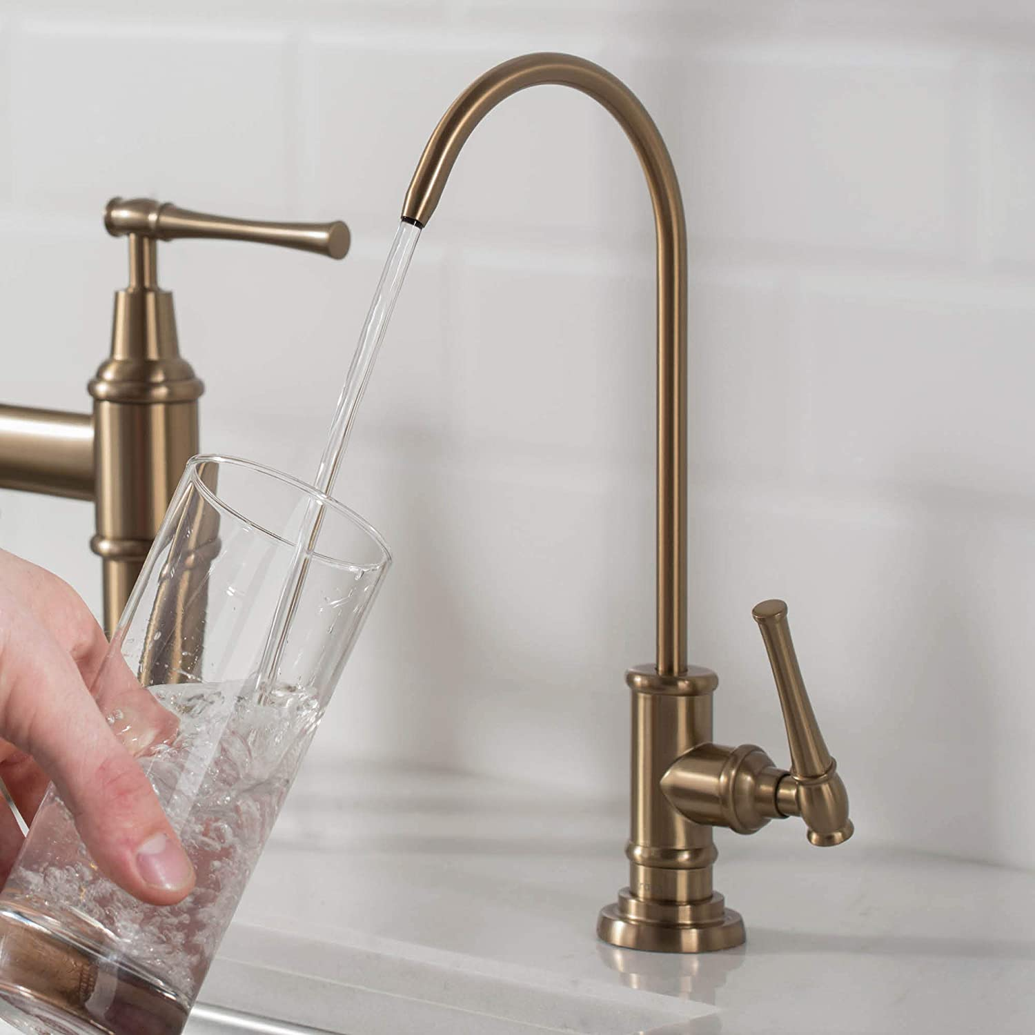 Kraus FF-102BG Allyn 100% Lead-Free Kitchen Water Filter Faucet, Brushed Gold