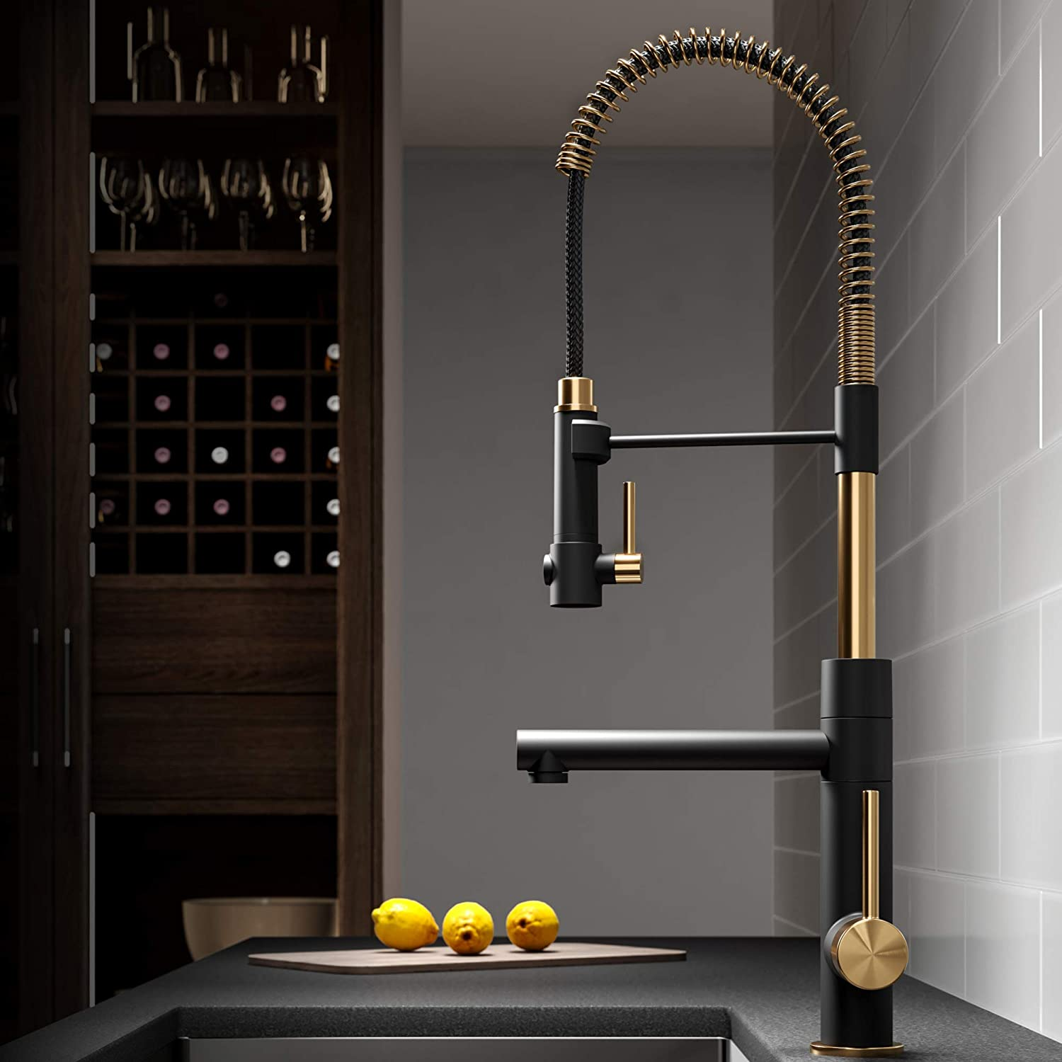 Kraus KPF-1603BGMB Artec Pro 2-Function Commercial Style Pre-Rinse Kitchen Faucet with Pull-Down Spring Spout and Pot Filler, Brushed Gold/Matte Black