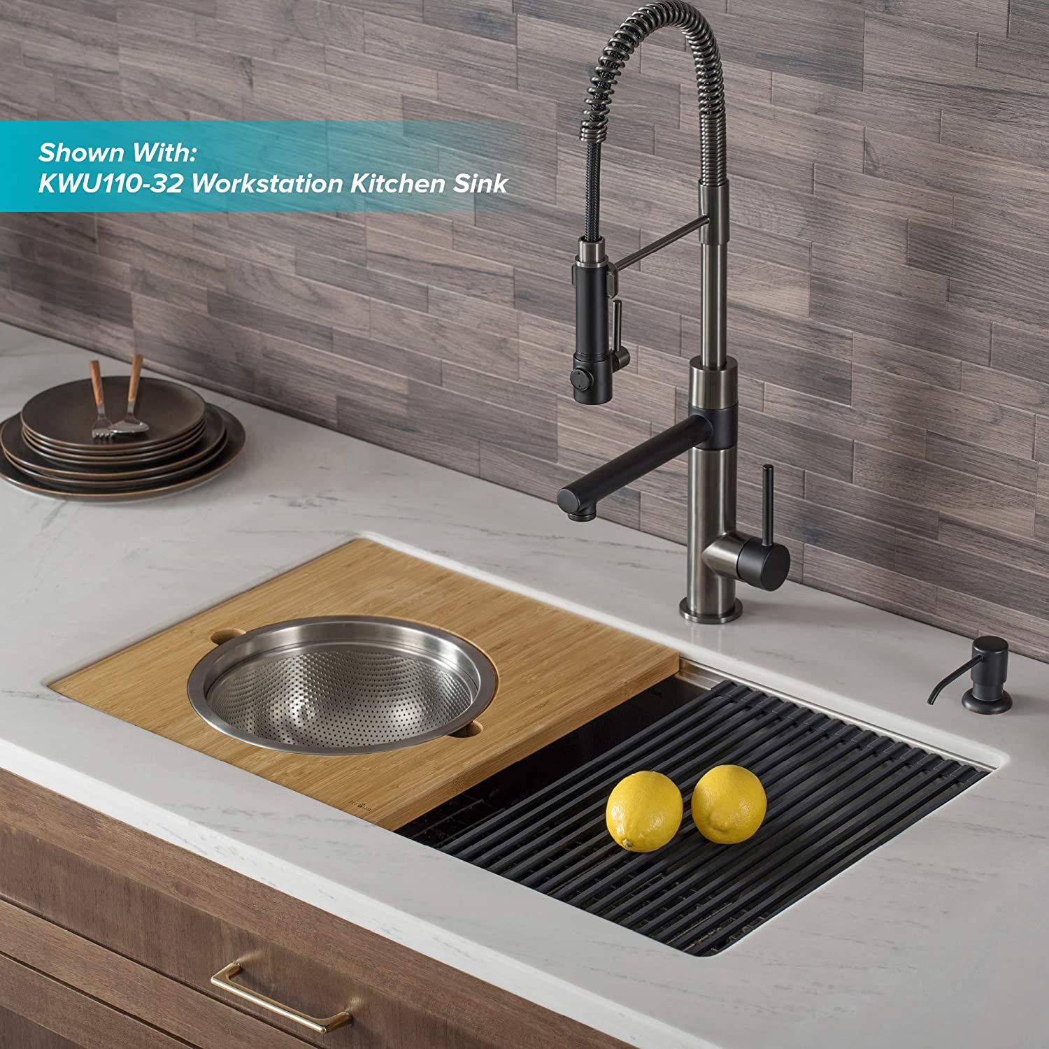 Kraus KPF-1603MBSB-DP03SB Artek Pro 2-Function Commercial Style Pre-Rinse Kitchen Faucet with Pot Filler and Deck Plate, Matte Black/Black Stainless Steel