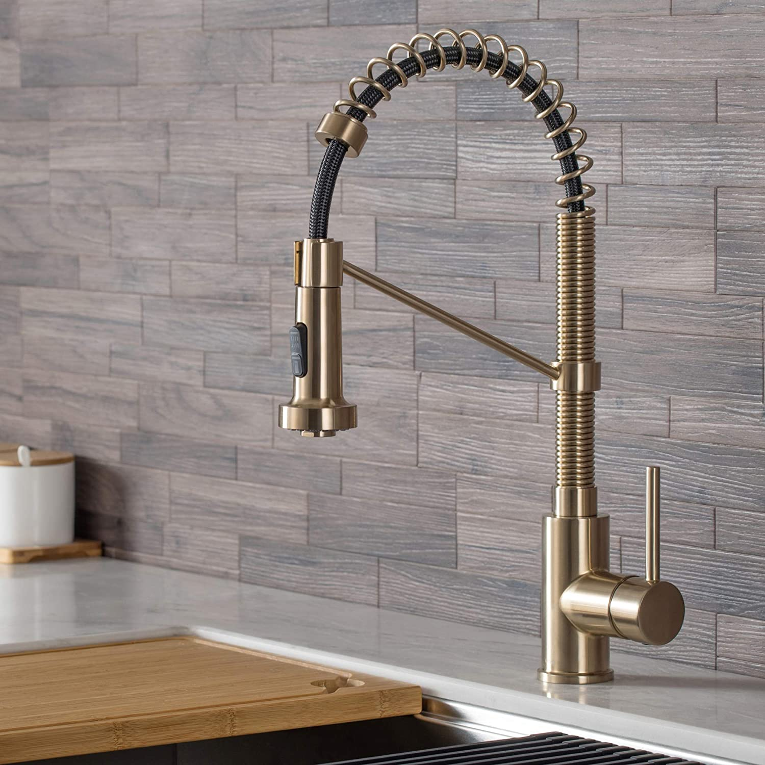 Kraus KPF-1610SFACB Bolden 18-Inch Single Handle Commercial Style Pull-Down Kitchen Faucet with Dual Function Sprayer, Spot Free Antique Champagne Bronze