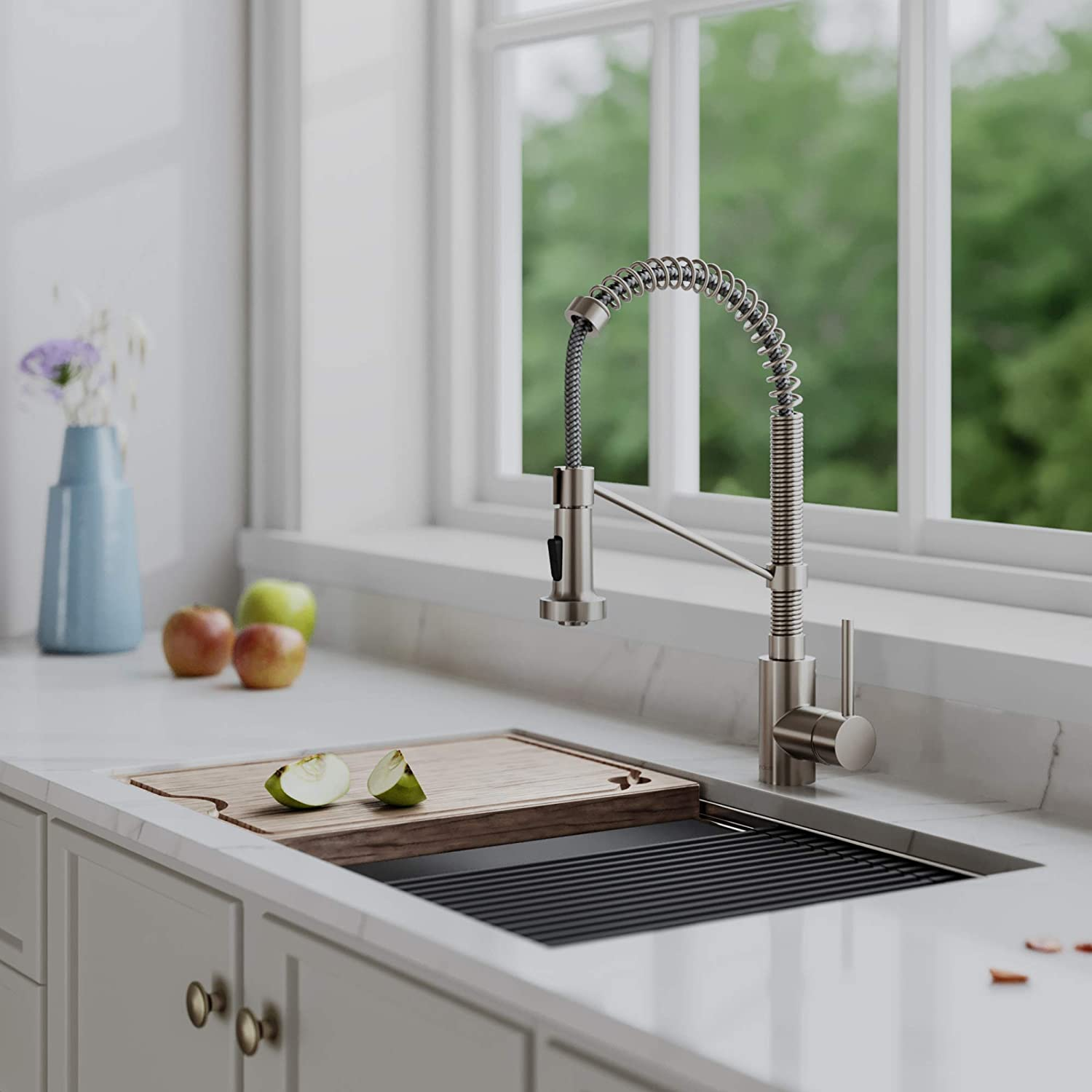 Kraus KPF-1610SFS Bolden 18-Inch Commercial Kitchen Faucet with Dual Function Pull-Down Sprayhead in all-Brite Finish, Spot Free Stainless Steel
