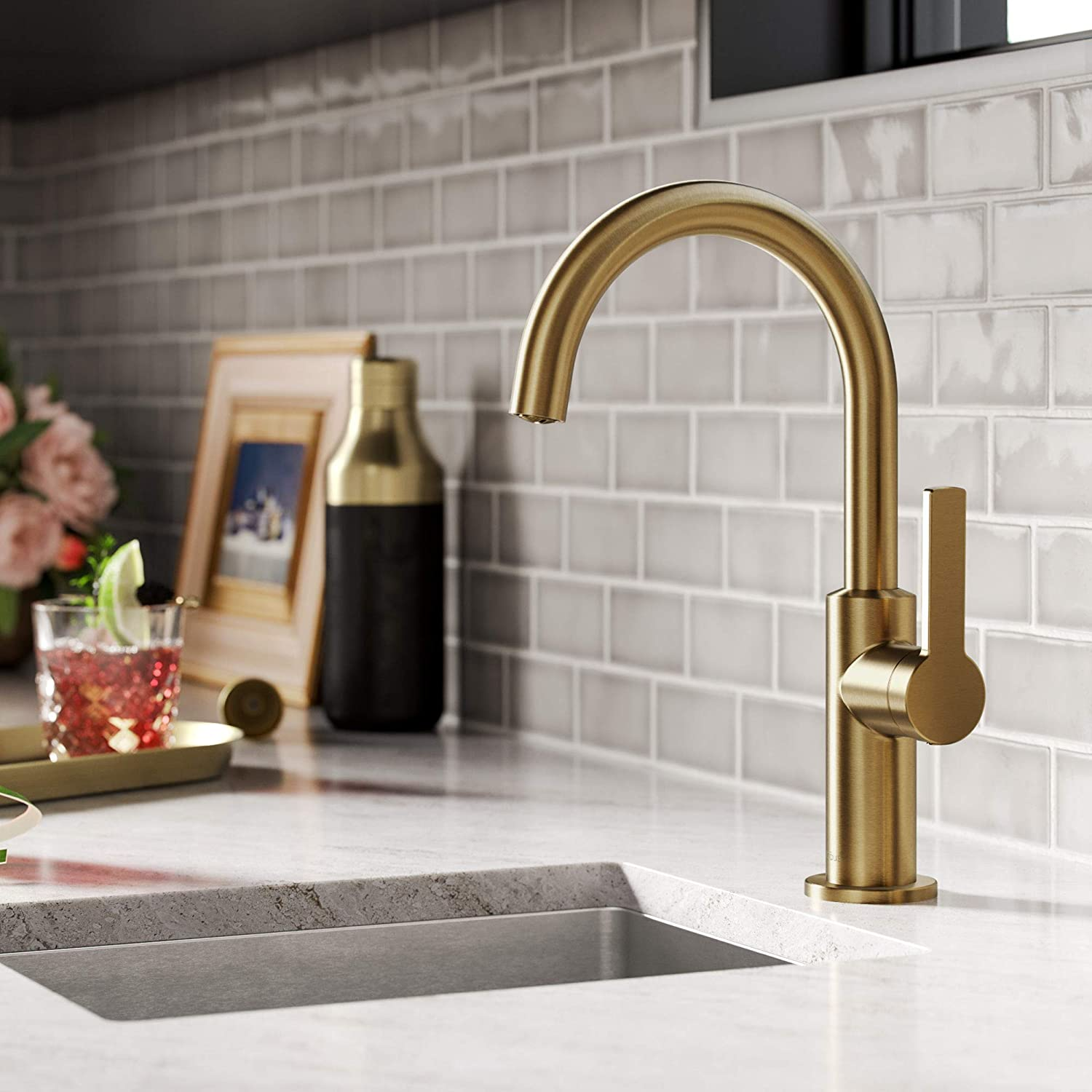 Kraus KPF-2822BB Oletto Single Handle Kitchen Bar Faucet, 12 Inch, Brushed Brass
