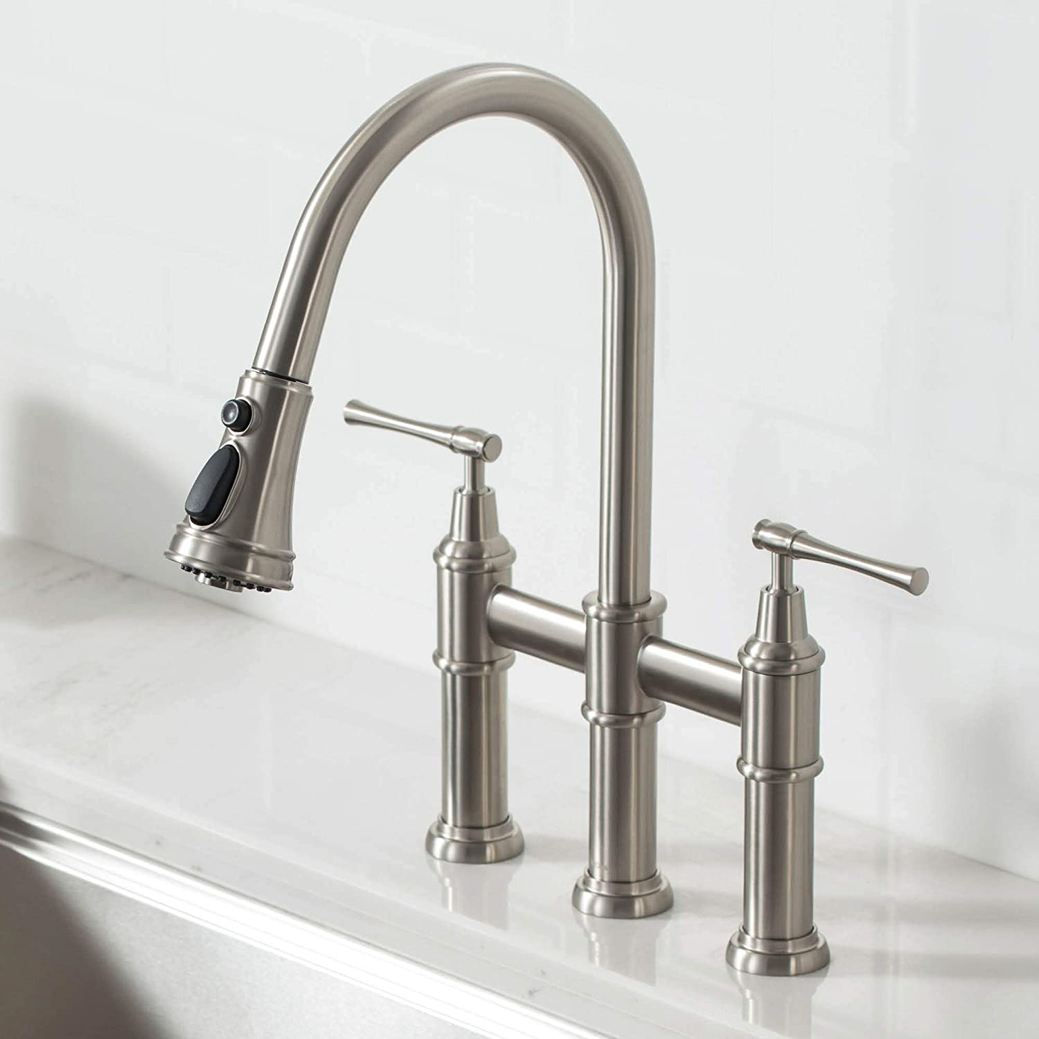 Kraus KPF-3121SFS Allyn Transitional Bridge Kitchen Faucet with Pull-Down Sprayhead, Spot Free Stainless Steel