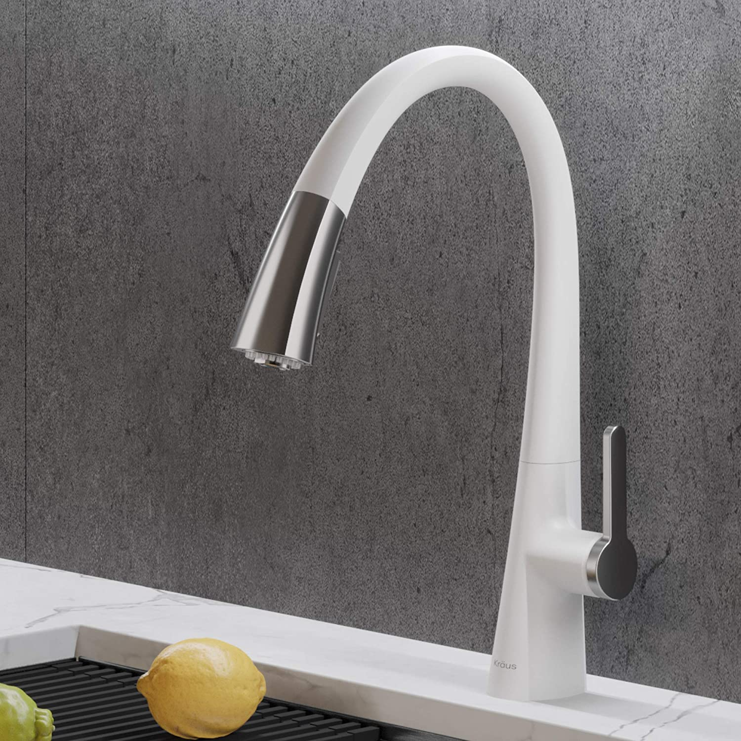 Kraus KPF-1673CHWH Nolen Dual Function Pull, Faucets for Kitchen Sinks, Single-Handle, Matte White/Chrome Finish