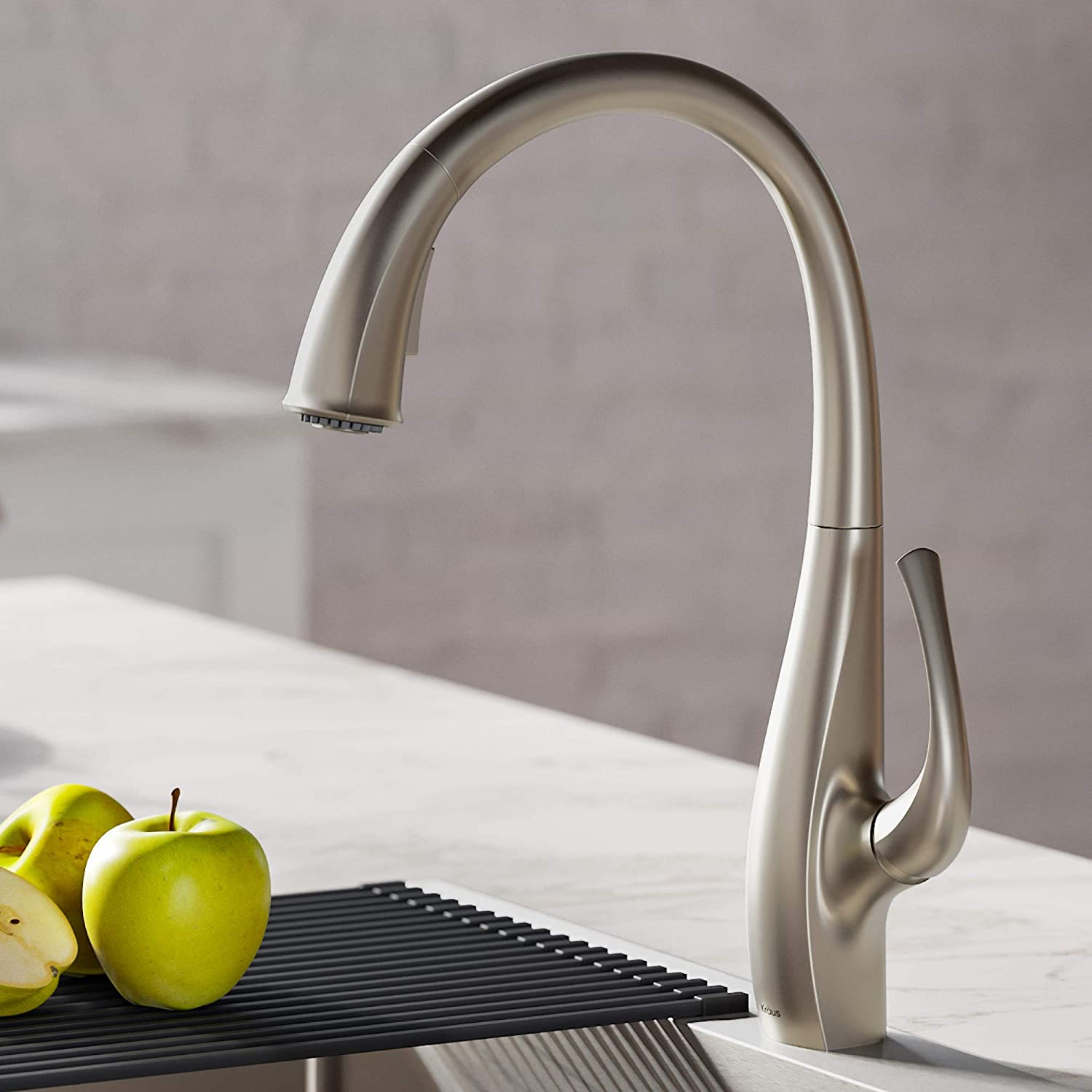 Kraus KPF-1675SFS Ansel Dual Function Pull, Faucets for Kitchen Sinks, Single-Handle, Spot Free Stainless Steel Finish